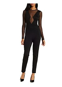 Mesh Panel Plunging Jumpsuit
