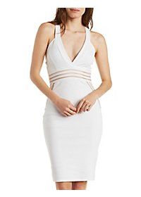 Sheer Striped Bodycon Dress