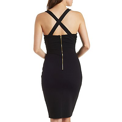 Sheer Striped Bodycon Dress