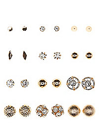 Mixed Stud Earrings - 12 Pack