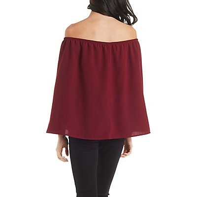 Off-the-Shoulder Caped Blouse