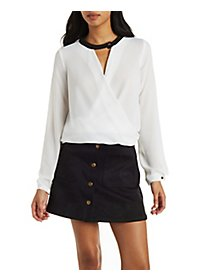 Ruched Wrap Front Blouse