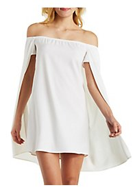 Caped Off-the-Shoulder Shift Dress