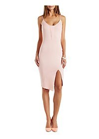 Front Slit Bodycon Dress