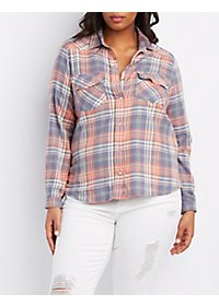 Plus Size Plaid Snap Button Shirt