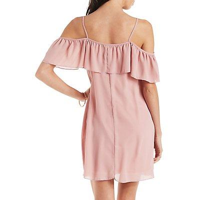 Ruffled Cold Shoulder Dress