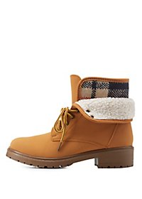 Bamboo Flannel Lace-Up Booties