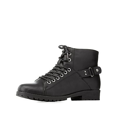 Bamboo Lace-Up Combat Booties