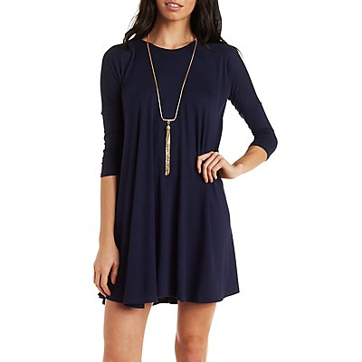 Dropped Shoulder Trapeze Dress