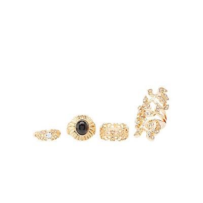 Filigree & Gemstone Rings - 4 Pack