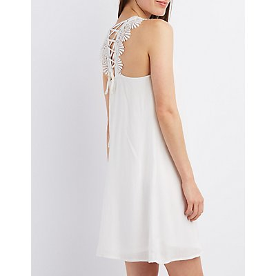 Crochet-Trim Lace-Up Shift Dress