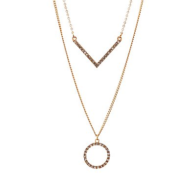 Diamante-Studded Geometric Layered Necklace