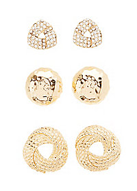 Oversize Stud Earrings - 3 Pack