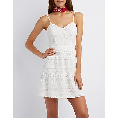 Open Back Crochet Skater Dress