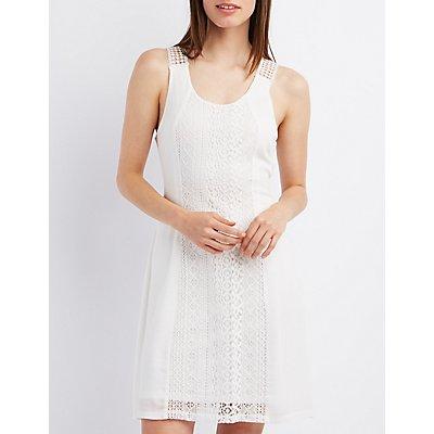 Crochet-Trim Scoop Neck Shift Dress
