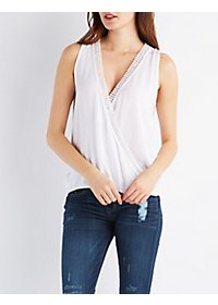 Crochet-Trim Draped Top