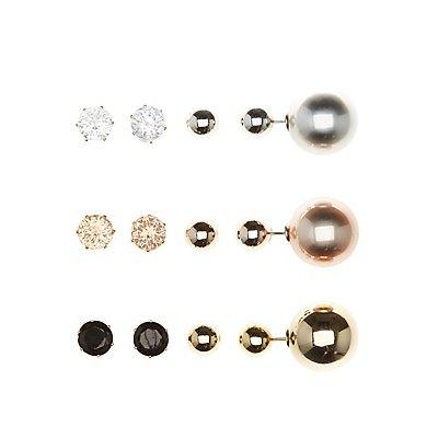Gemstone & Metal Stud Earrings - 9 Pack
