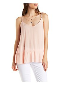 Ruffled V-Neck Tank Top