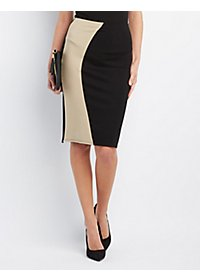Color Block Bodycon Pencil Skirt