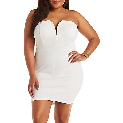 Plus Size Strapless Textured Bodycon Dress