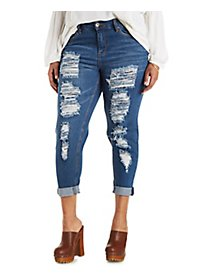 Plus Size Dollhouse Roll-Up Skinny Capri Jeans