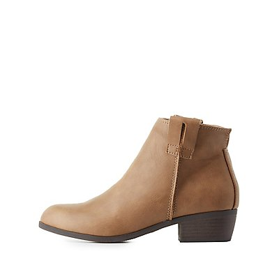 Qupid Round Toe Ankle Booties