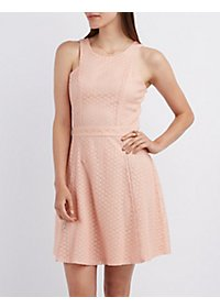 Eyelet Sleeveless Skater Dress