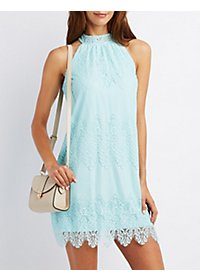 Lace Mock Neck Shift Dress