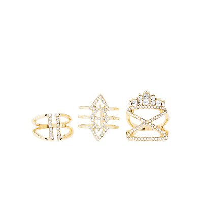 Rhinestone Rings - 3 Pack