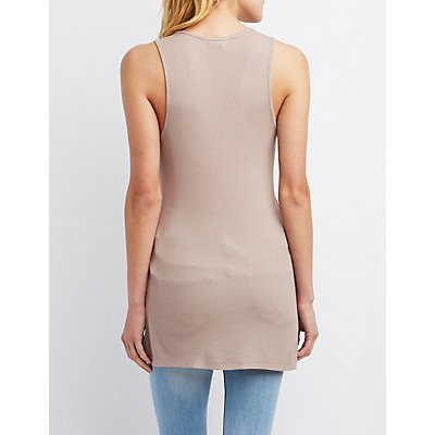 Ribbed Split Hem Tank Top