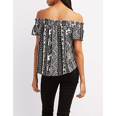 Mixed Print Off-the-Shoulder Top