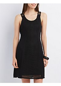 Crochet-Trim Scoop Neck Shift Dress