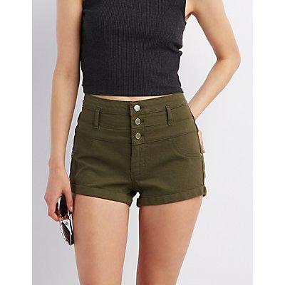 "Refuge ""Hi-Waist Shortie"" Colored Denim Shorts"
