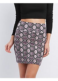 Snakeskin Print Bodycon Mini Skirt