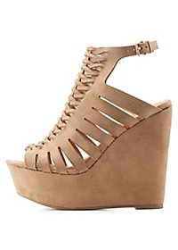 Braided Cut-Out Wedge Sandals