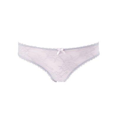 Contrast Lace & Mesh Thong Panties