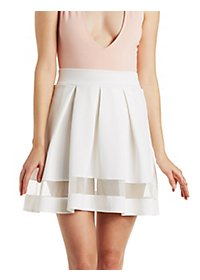 Mesh Stripe Skater Skirt