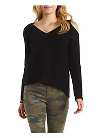 V-Neck Cold Shoulder Sweater