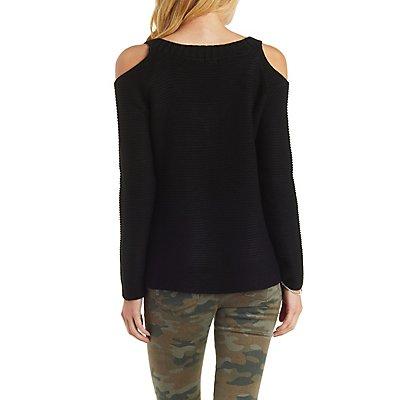V-Neck Cold Shoulder Sweater