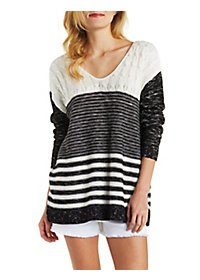 Multi-Stitch Scoop Neck Tunic Sweater