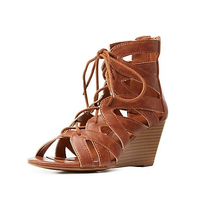 Lace-Up Wedge Sandals