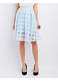 Shadow Plaid Organza Midi Skirt
