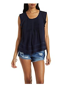 Pleated Lace-Inset Top