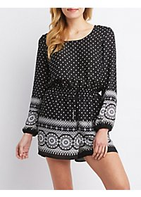 Border Print Long Sleeve Romper