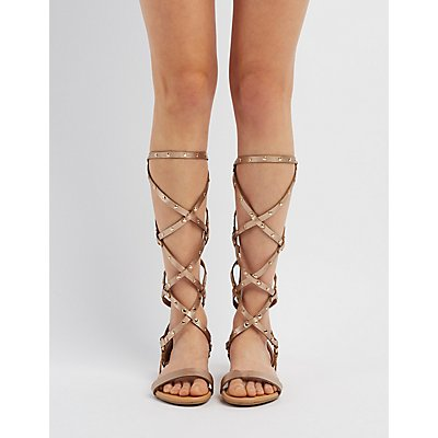 Bamboo Studded Knee-High Gladiator Sandals