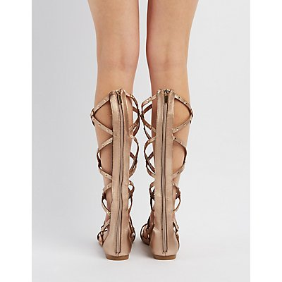 Bamboo Studded Knee-High Gladiator Sandals
