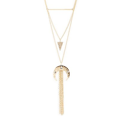 Fringed Crescent & Shapes Layering Necklace