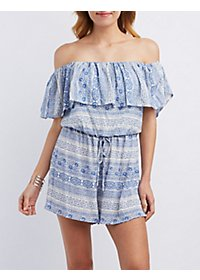 Printed Off-the-Shoulder Ruffle Romper