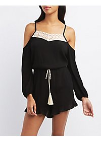 Crochet-Trim Cold Shoulder Romper