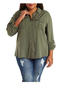 Plus Size Button-Up Military Shirt
